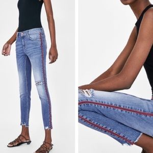 Zara jeans w red stripe